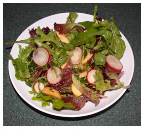 Debbie's apple and radish tossed salad with honey-mustard dressing