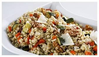 Barley, walnuts and roasted veggie dish