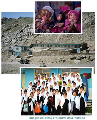 Torgu Balla schoolgirls, Pakistan; Lalander, Afghanistan school and schoolchildren. Images courtesy of Central Asia Institute.