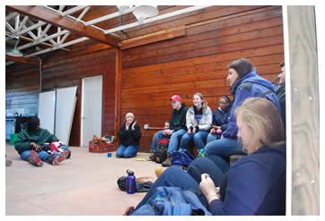 Clark Montessori kids hang out in new education space in breezeway of old barn