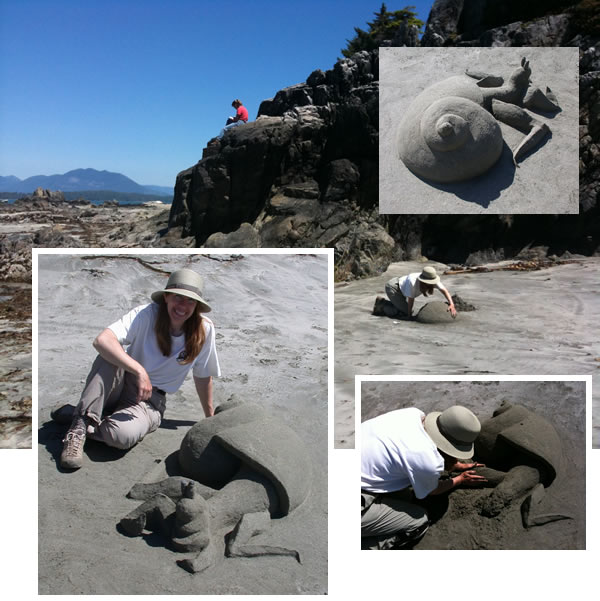 Debbie spends the day sculpting with sand on Brady's Beach, Bamfield, BC (while friend Kristen sketches from the rocks above)
