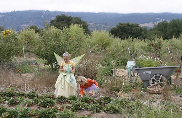 Elisa and friend in fairy costumes in the strawberry patch