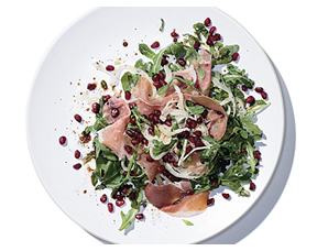 Mediterranean fennel arugula salad with prosciutto and pomegranate