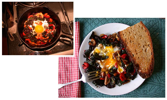 Fried egg in sauteed mushrooms, peppers and chard