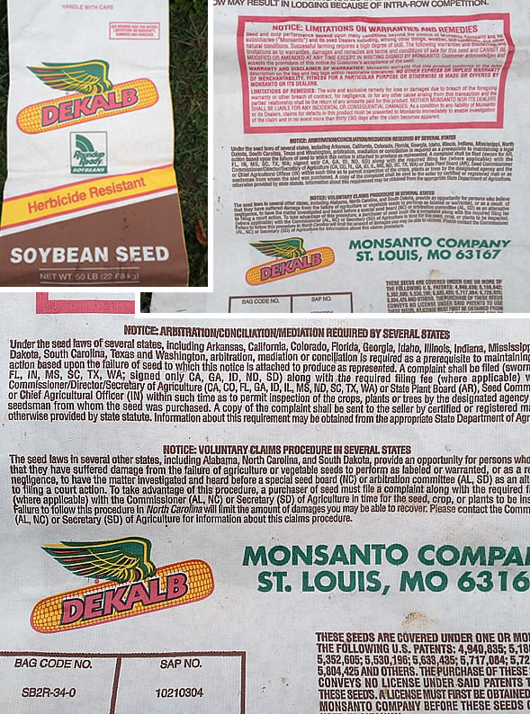 GMO soybean seed bag
