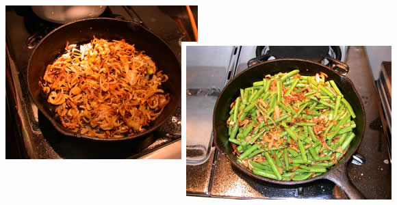Green beans w/pan-browned fennel and onion