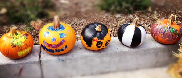 Childrens' painted pumpkins