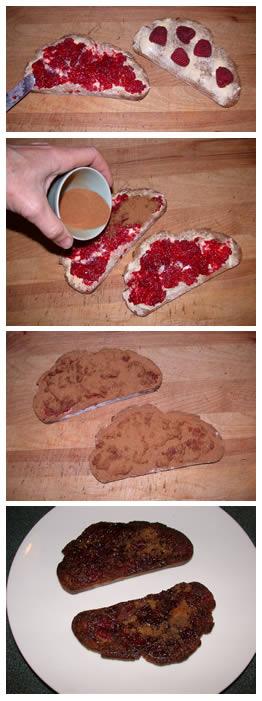 making raspberry cinnamon toast
