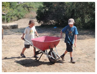 Children with wheelbarrow
